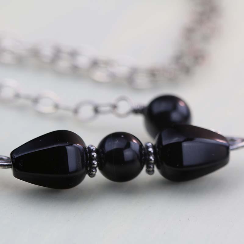 Black onyx choker necklace