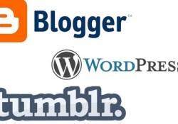Wordpress, Blogger and Tumblr - 3 Free Blogging Platforms