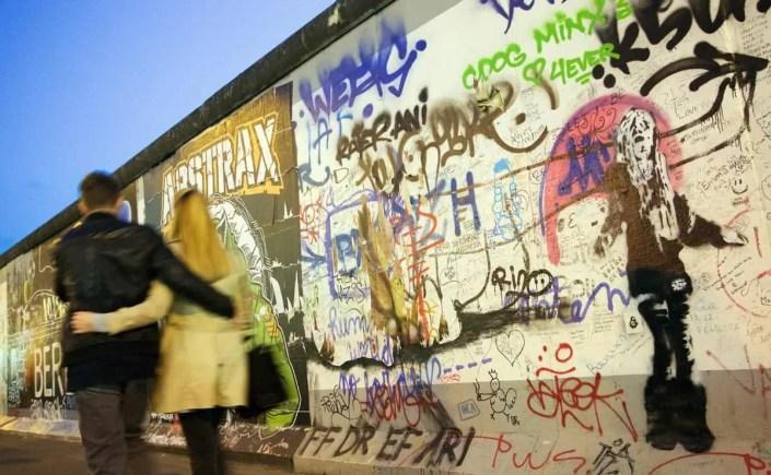 Walking by the East Side Gallery in Berlin