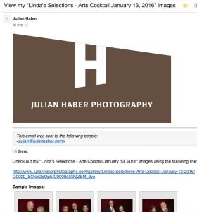 Email with link to photo gallery