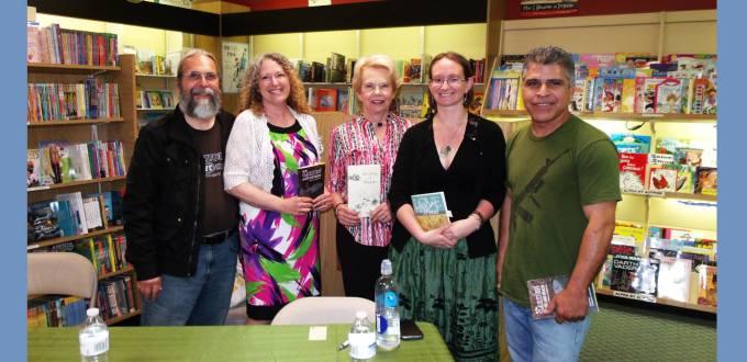 It was a great reading at Park Road Books! Pictured left to right -- Jonathan K. Rice, Kim Blum-Hyclak, Doris Thomas Browder, Julie Ann Cook, & Jose G Vasquez. Photo courtesy of Jose G. Vasquez