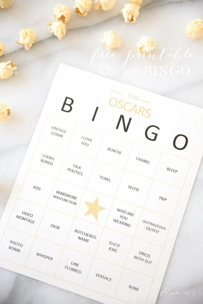 Free Printable Oscars Bingo - Julie Blanner