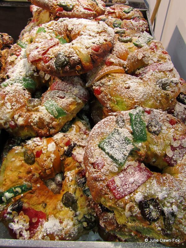 Stacks of Bolo de Rei, Portuguese Christmas cakes