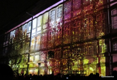 Images projected onto buildings