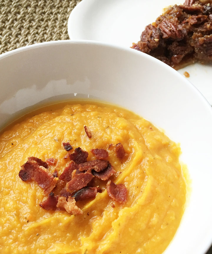 Roasted Butternut Squash Soup with Bacon and Bacon Pecan ...