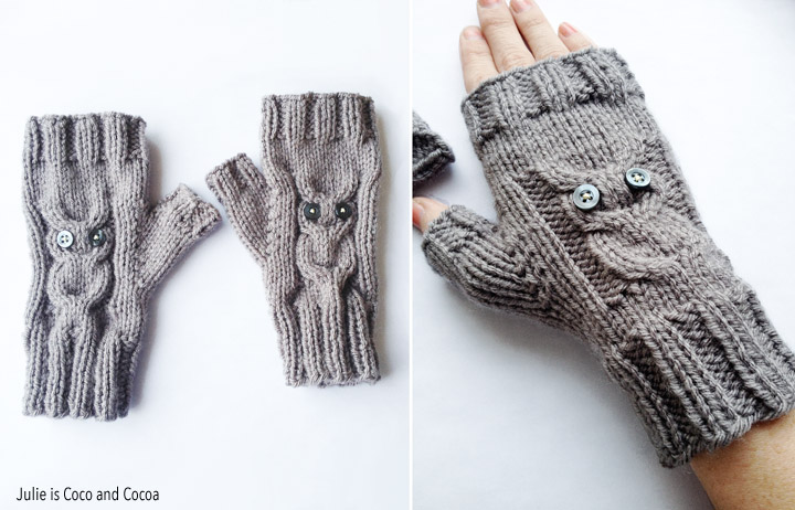 Owl Gloves Knit Pattern - Julie is Coco and Cocoa