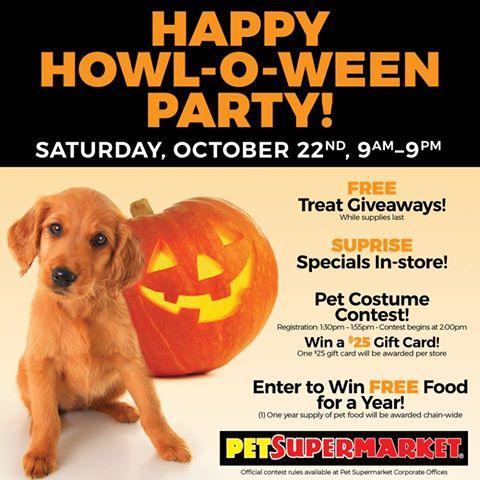 Happy Howl-o-Ween Party at Pet Supermarket - Julie\u0027s Freebies