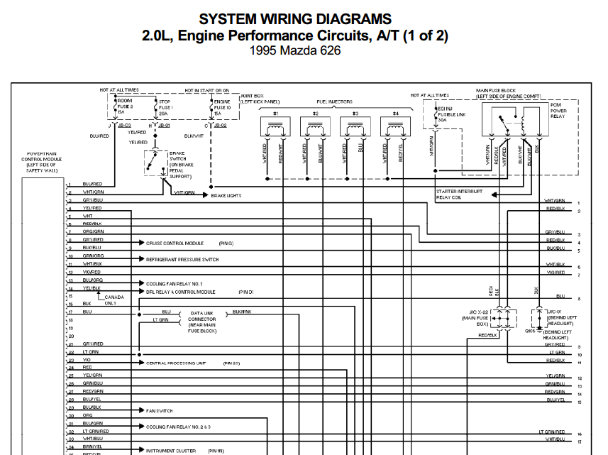 mazda 626 central lock wiring diagram