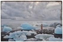 Icebergs from Jökulsárlon glacier lagoon on the beach