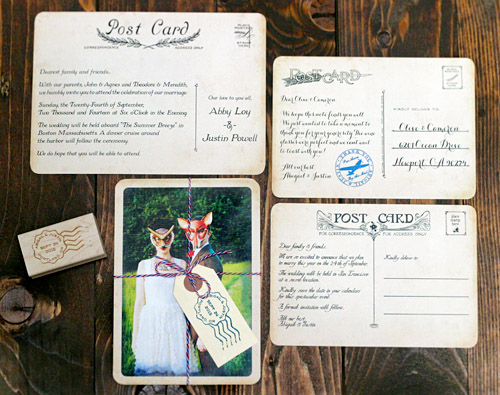 Vintage Postcard Wedding Invitations from Royal Steamline Junebug - post card invitations