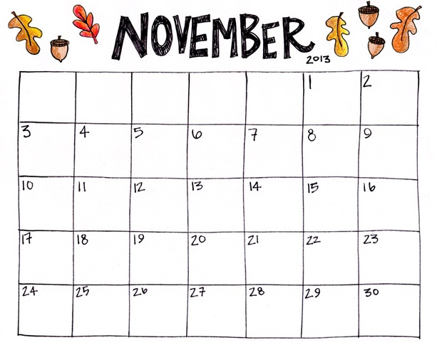 Blank November 2018 Calendar Printable Free Download
