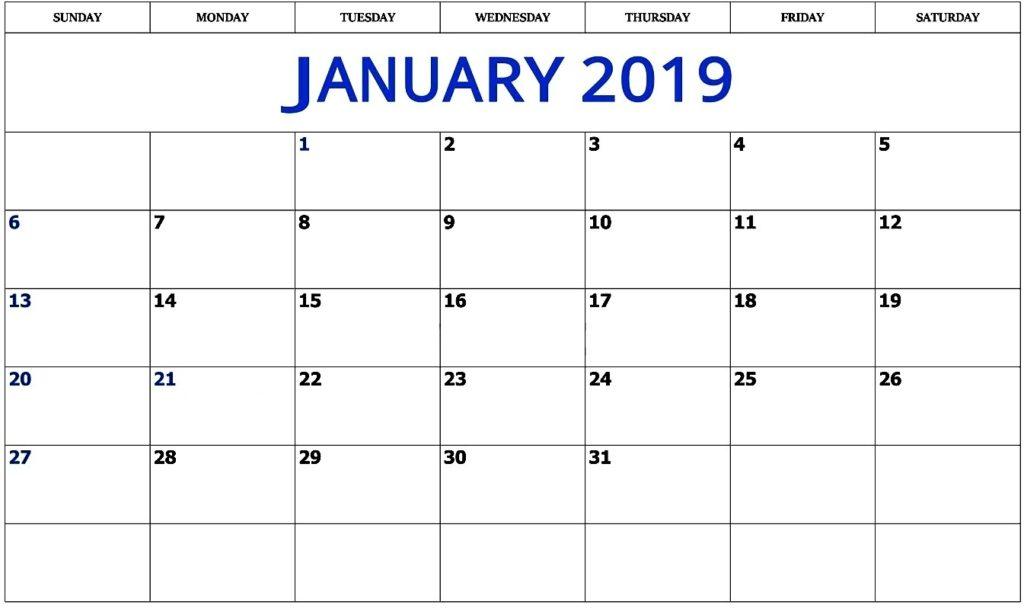 Printable January 2019 Calendar PDF Free Template