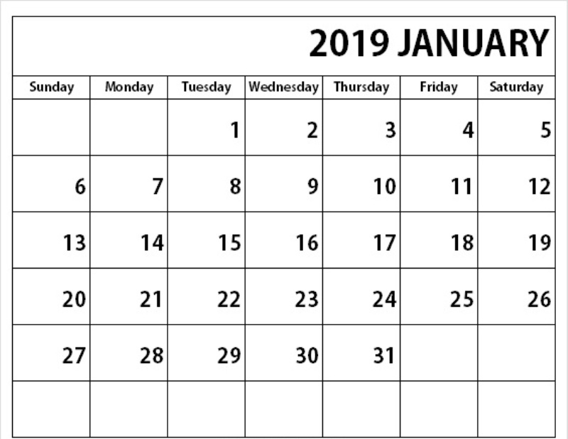 January Calendar Archives - Printable Calendar 2019 Blank Calendar