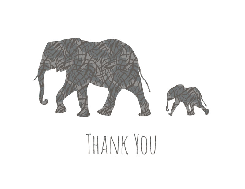 FREE Printable Elephant Thank You Cards June Lily Design - printable thank you cards black and white