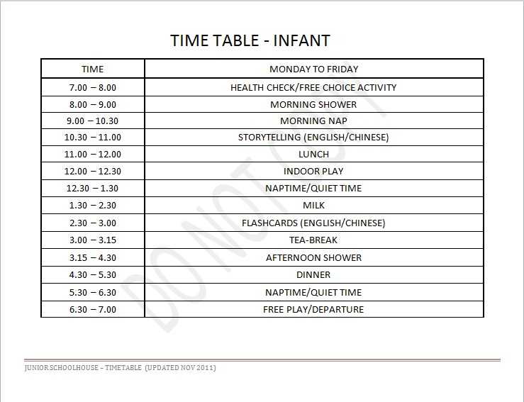 Infant Daily Schedule Junior Schoolhouse