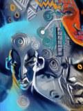 Blue Faces, digital art by Junior Tomlin