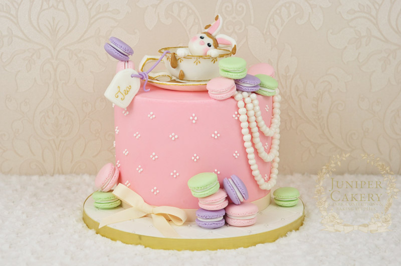 Adorable Vintage Tea and Macarons birthday cake with fondant rabbit by Juniper Cakery