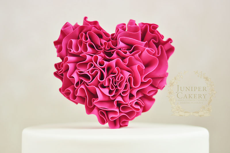 Tutorial tuesday how to make a fondant ruffled heart pick - How to decorate a heart cake ...
