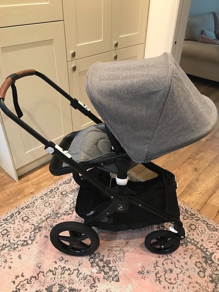 Baby Pushchair Leather Bugaboo Fox Pushchair Grey Melange With Black Chassis