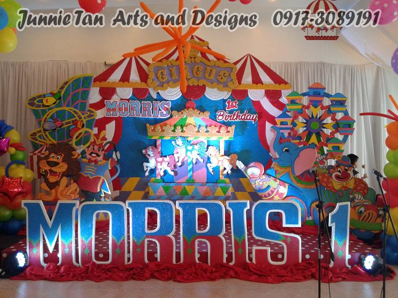 Circus Carnival Kiddie Party Styro Backdrop And Balloon