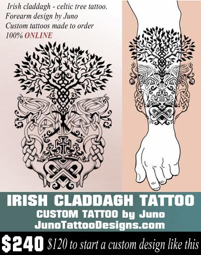 Irish claddagh tattoo, celtic tree tattoo, celtic knots tattoo, juno tattoo designs