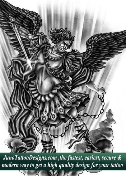 archangel tattoo, custom tattoo, tattoo designer sample