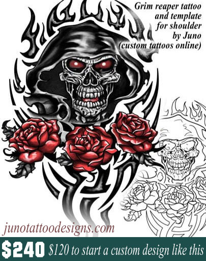 grim reaper tattoo template by juno tattoo designs - How to create a