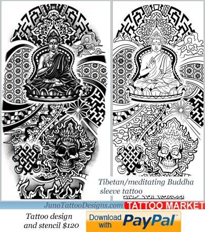 tibbetan buddha tattoo template