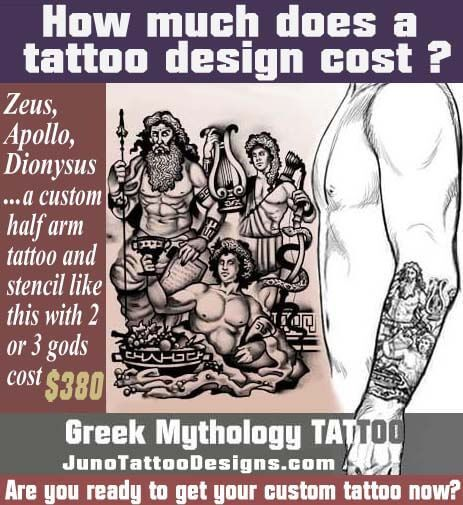 how does much a tattoo cost, zeus apollo dionysus greek mythology tattoo, juno tattoo design