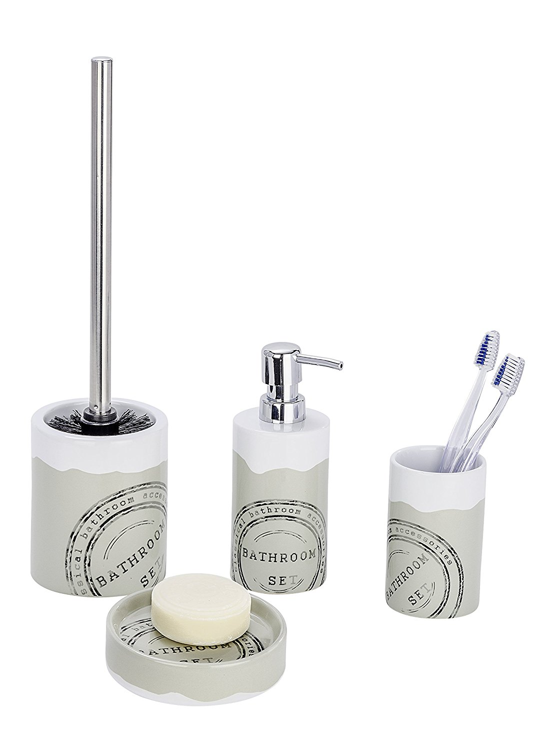 Badezimmer Seifenspender Set 4tlg Wenko Bad Set Bathroom Aus Keramik Wc Garnitur Seifenspender