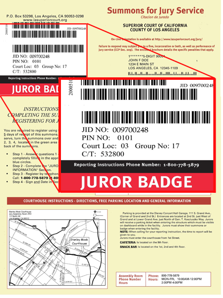 Jury Duty - LA Court - Civil Summons Form