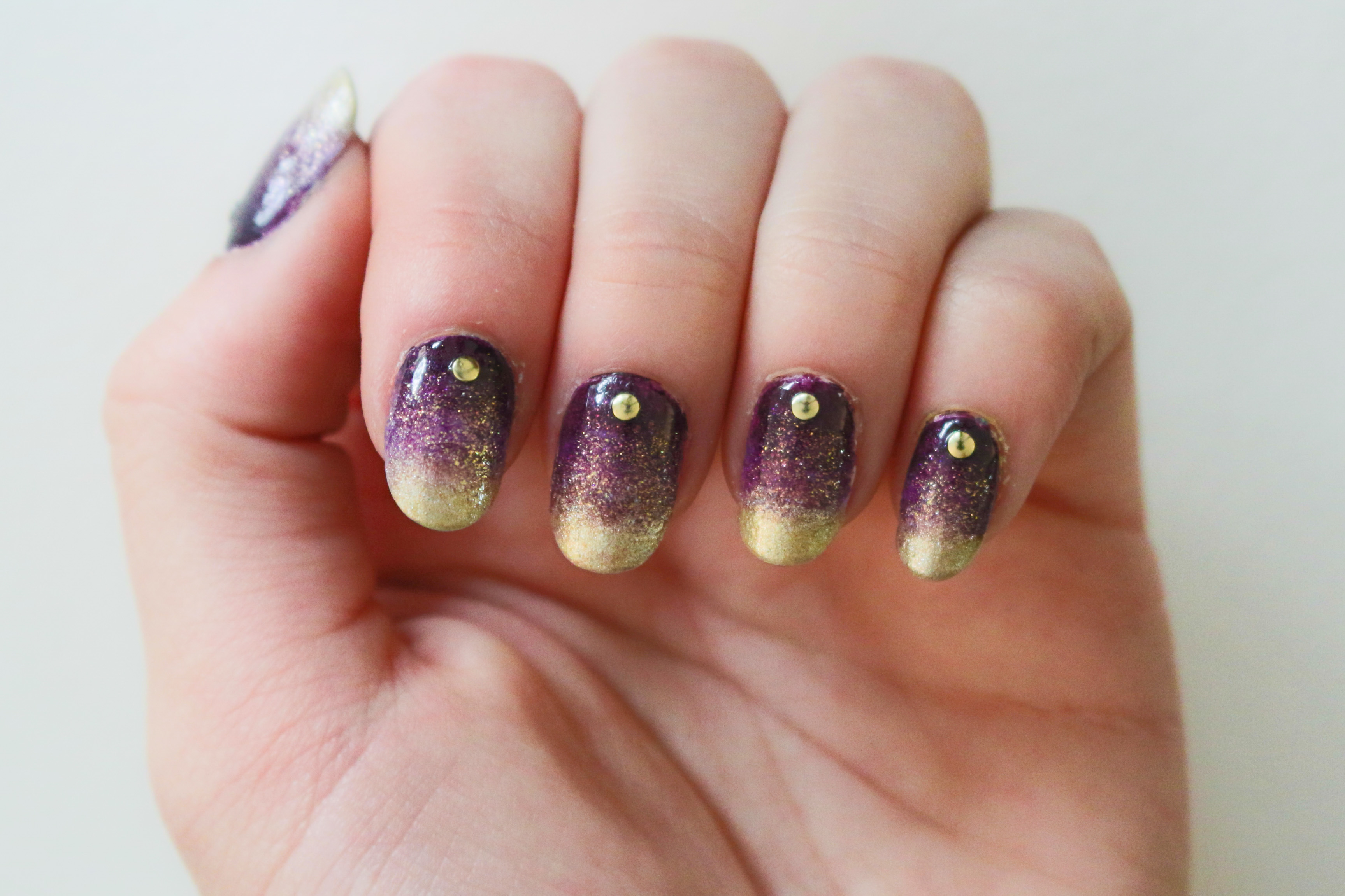 Prom Nails 2 Purple Gold Gradient Just A Few Things