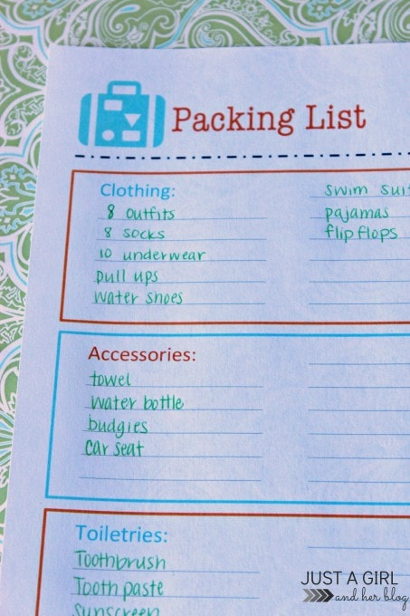 Free Printable Packing List for Organized Travel and Vacation - packing lists
