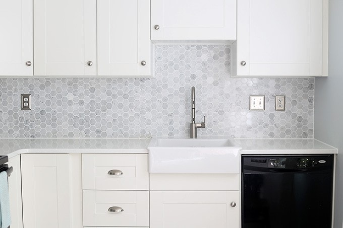 install marble hexagon tile backsplash justagirlandherblog install tile backsplash install tile backsplash kitchen