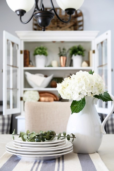 How to Style a Dining Room Hutch - Just a Girl and Her Blog - living room hutch