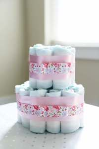 Diaper Cake Baby Shower Centerpieces - Just a Girl and Her ...