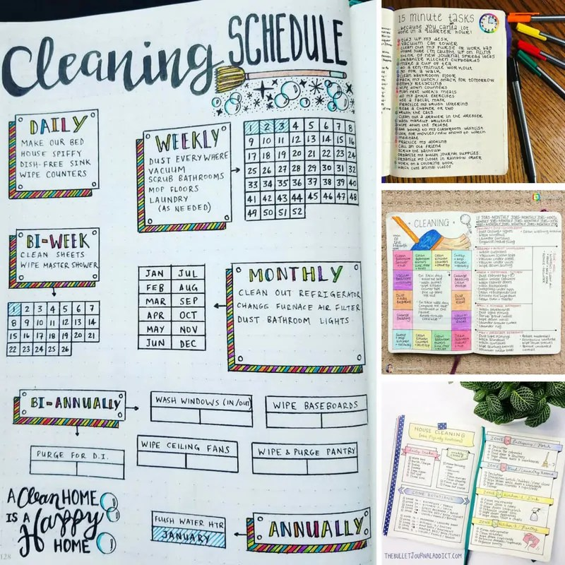 19 Bullet Journal Cleaning Schedules to Make Chores a Little Less Dull