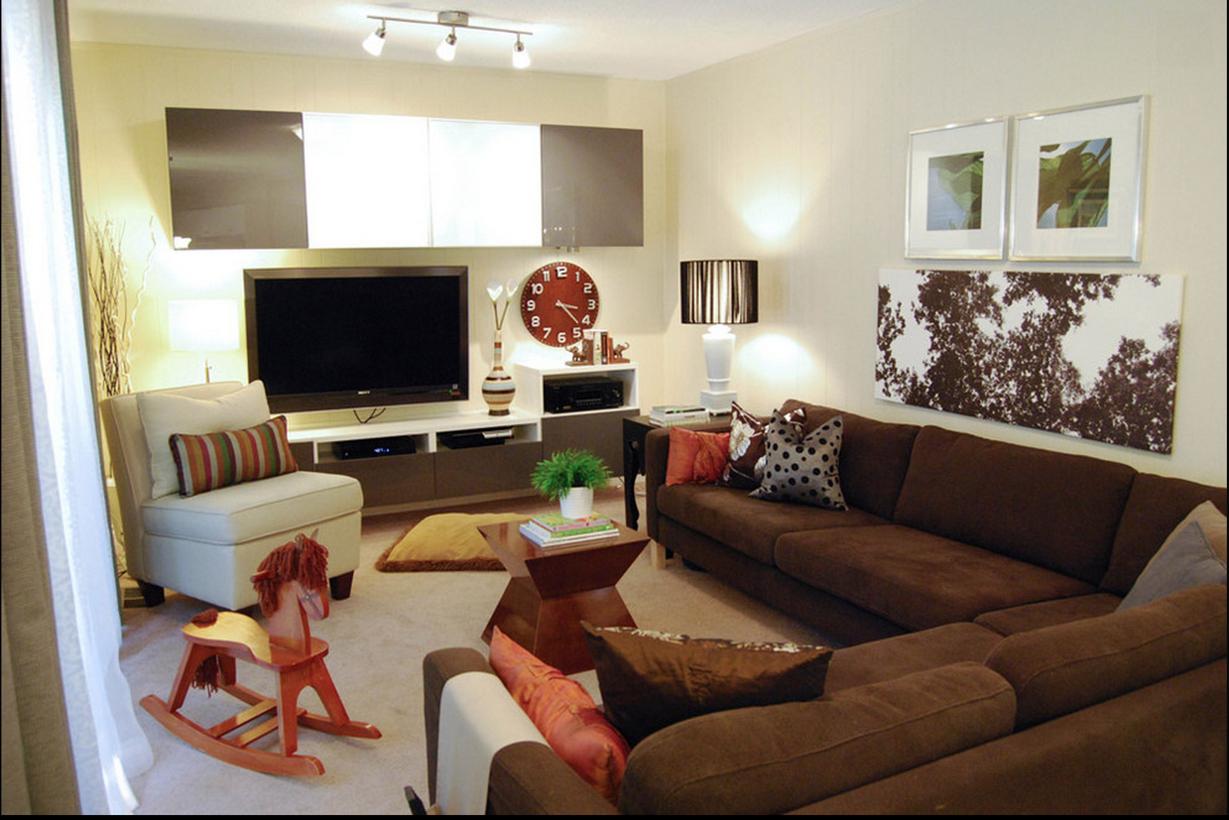 How To Decorate A Family Room With Dark Brown Couches Contemporary Decor Familyroom Brown Couch Just Decorate