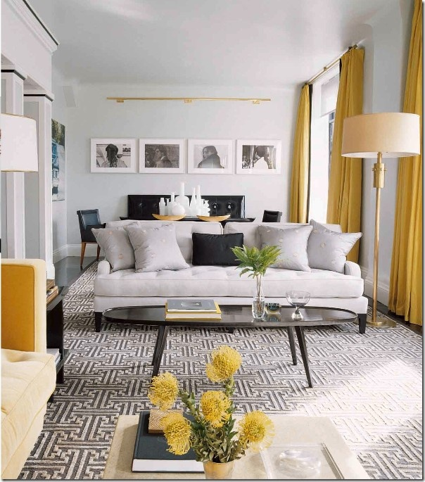 contemporary vintage living room grey and yellow