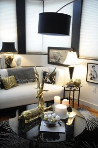 black white gold glam living room | just decorate!
