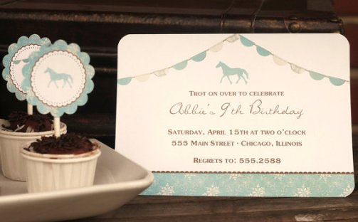 12 Personalized Invitations HORSE blue and Brown
