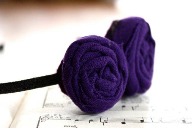 Double Purple Rosette Headband