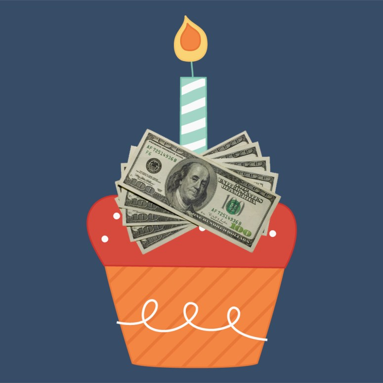 Birthday giveaway cupcake image with cash