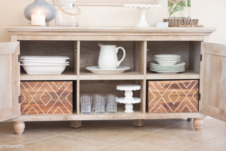 Love this buffet from Better Homes and Garden Walmart. Perfect way to update our dining room! The neutral color is so pretty! and plenty of storage!