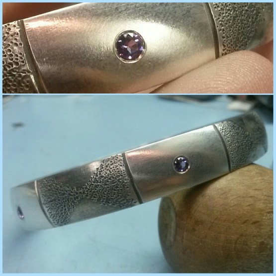 art jewelry, handcrafted jewelry, artisan jewelry, amethyst jewelry, sterling silver bangle