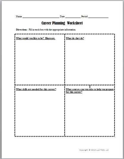 Career planning worksheet pdf