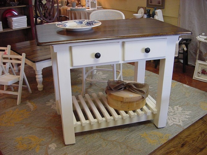 attachment id kitchen island tables 30 48 Two Drawer KITCHEN ISLAND with Spacious Slated Lower Shelf