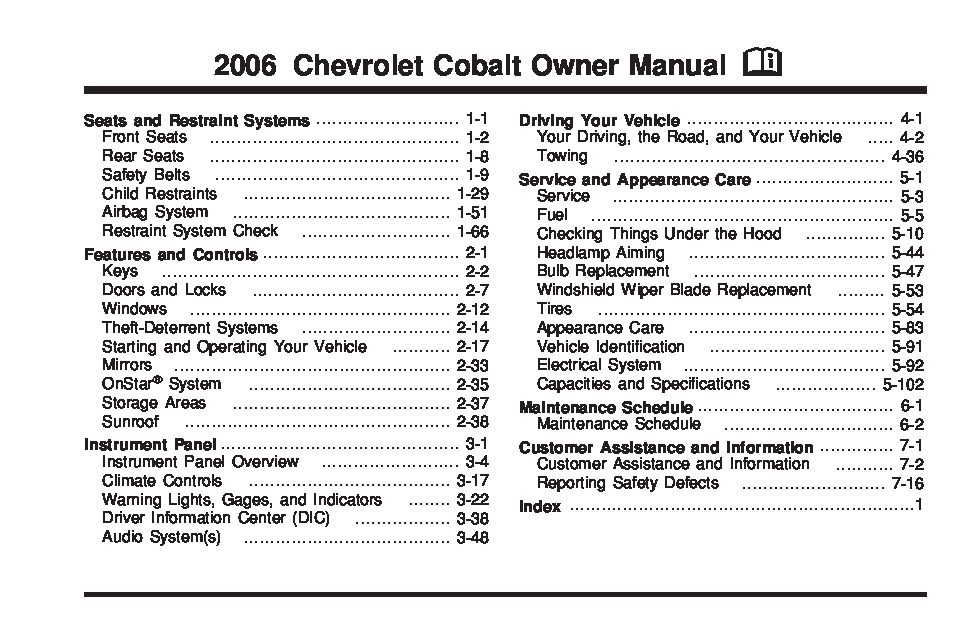 2006 chevrolet cobalt Owners Manual Just Give Me The Damn Manual