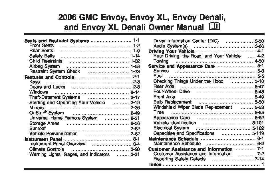 2006 gmc envoy Owners Manual Just Give Me The Damn Manual