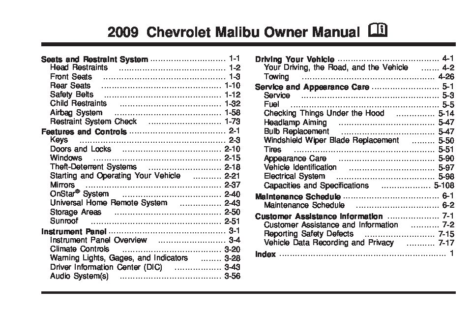2009 chevrolet malibu Owners Manual Just Give Me The Damn Manual